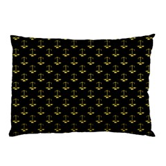 Gold Scales Of Justice On Black Repeat Pattern All Over Print  Pillow Case by PodArtist