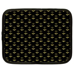 Gold Scales Of Justice On Black Repeat Pattern All Over Print  Netbook Case (xl)  by PodArtist