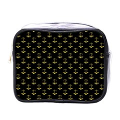 Gold Scales Of Justice On Black Repeat Pattern All Over Print  Mini Toiletries Bags by PodArtist