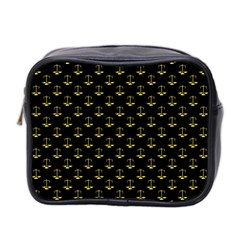 Gold Scales Of Justice On Black Repeat Pattern All Over Print  Mini Toiletries Bag 2 Side by PodArtist