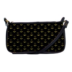 Gold Scales Of Justice On Black Repeat Pattern All Over Print  Shoulder Clutch Bags by PodArtist