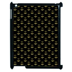 Gold Scales Of Justice On Black Repeat Pattern All Over Print  Apple Ipad 2 Case (black) by PodArtist