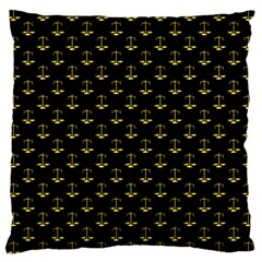 Gold Scales Of Justice On Black Repeat Pattern All Over Print  Large Cushion Case (two Sides) by PodArtist