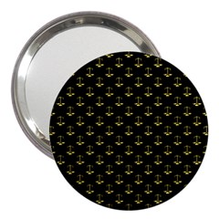 Gold Scales Of Justice On Black Repeat Pattern All Over Print  3  Handbag Mirrors by PodArtist
