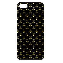 Gold Scales Of Justice On Black Repeat Pattern All Over Print  Apple Iphone 5 Seamless Case (black) by PodArtist