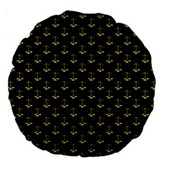 Gold Scales Of Justice On Black Repeat Pattern All Over Print  Large 18  Premium Round Cushions by PodArtist
