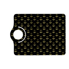 Gold Scales Of Justice On Black Repeat Pattern All Over Print  Kindle Fire Hd (2013) Flip 360 Case by PodArtist