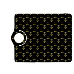 Gold Scales Of Justice On Black Repeat Pattern All Over Print  Kindle Fire Hdx 8 9  Flip 360 Case by PodArtist