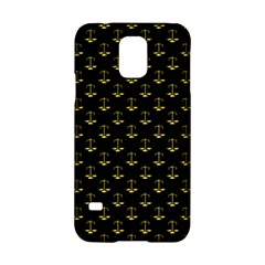 Gold Scales Of Justice On Black Repeat Pattern All Over Print  Samsung Galaxy S5 Hardshell Case  by PodArtist