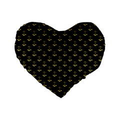 Gold Scales Of Justice On Black Repeat Pattern All Over Print  Standard 16  Premium Flano Heart Shape Cushions by PodArtist