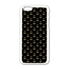 Gold Scales Of Justice On Black Repeat Pattern All Over Print  Apple Iphone 6/6s White Enamel Case by PodArtist