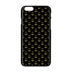 Gold Scales Of Justice On Black Repeat Pattern All Over Print  Apple Iphone 6/6s Black Enamel Case by PodArtist