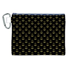 Gold Scales Of Justice On Black Repeat Pattern All Over Print  Canvas Cosmetic Bag (xxl) by PodArtist
