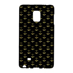 Gold Scales Of Justice On Black Repeat Pattern All Over Print  Galaxy Note Edge by PodArtist