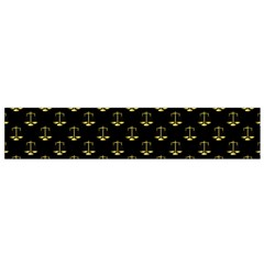 Gold Scales Of Justice On Black Repeat Pattern All Over Print  Small Flano Scarf by PodArtist