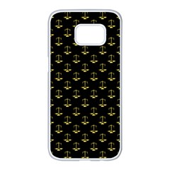 Gold Scales Of Justice On Black Repeat Pattern All Over Print  Samsung Galaxy S7 Edge White Seamless Case by PodArtist