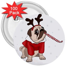 Pug Xmas 3  Buttons (100 Pack)  by Valentinaart