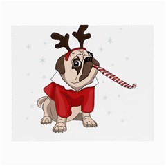 Pug Xmas Small Glasses Cloth (2 Side) by Valentinaart