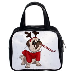 Pug Xmas Classic Handbags (2 Sides) by Valentinaart