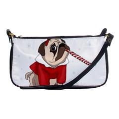 Pug Xmas Shoulder Clutch Bags by Valentinaart