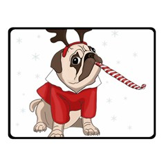 Pug Xmas Fleece Blanket (small) by Valentinaart