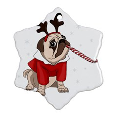 Pug Xmas Snowflake Ornament (two Sides) by Valentinaart
