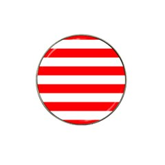 Christmas Red And White Cabana Stripes Hat Clip Ball Marker (4 Pack) by PodArtist