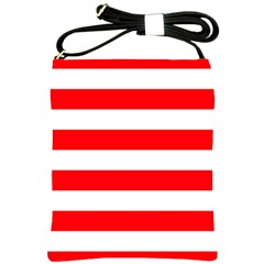 Christmas Red And White Cabana Stripes Shoulder Sling Bags by PodArtist