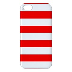 Christmas Red And White Cabana Stripes Apple Iphone 5 Premium Hardshell Case by PodArtist