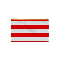 Christmas Red And White Cabana Stripes Cosmetic Bag (xs) by PodArtist
