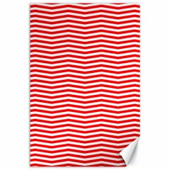 Christmas Red And White Chevron Stripes Canvas 24  X 36  by PodArtist