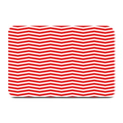Christmas Red And White Chevron Stripes Plate Mats by PodArtist