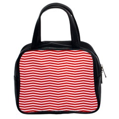 Christmas Red And White Chevron Stripes Classic Handbags (2 Sides) by PodArtist