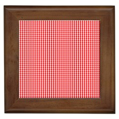 Small Snow White And Christmas Red Gingham Check Plaid Framed Tiles by PodArtist