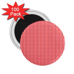 Small Snow White And Christmas Red Gingham Check Plaid 2 25  Magnets (100 Pack)  by PodArtist