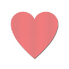 Small Snow White And Christmas Red Gingham Check Plaid Heart Magnet by PodArtist