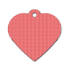 Small Snow White And Christmas Red Gingham Check Plaid Dog Tag Heart (one Side) by PodArtist