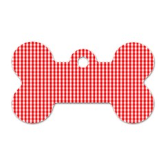 Small Snow White And Christmas Red Gingham Check Plaid Dog Tag Bone (one Side) by PodArtist