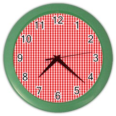 Small Snow White And Christmas Red Gingham Check Plaid Color Wall Clocks by PodArtist