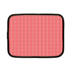 Small Snow White And Christmas Red Gingham Check Plaid Netbook Case (small)  by PodArtist