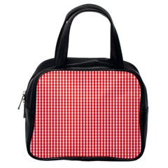 Small Snow White And Christmas Red Gingham Check Plaid Classic Handbags (one Side) by PodArtist