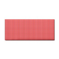 Small Snow White And Christmas Red Gingham Check Plaid Cosmetic Storage Cases by PodArtist
