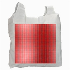 Small Snow White And Christmas Red Gingham Check Plaid Recycle Bag (two Side)  by PodArtist