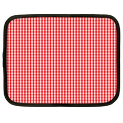 Small Snow White And Christmas Red Gingham Check Plaid Netbook Case (xxl)  by PodArtist
