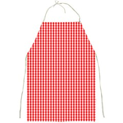 Small Snow White And Christmas Red Gingham Check Plaid Full Print Aprons by PodArtist