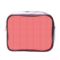 Small Snow White And Christmas Red Gingham Check Plaid Mini Toiletries Bags by PodArtist