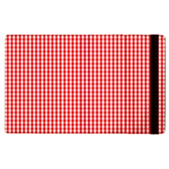Small Snow White And Christmas Red Gingham Check Plaid Apple Ipad 2 Flip Case by PodArtist