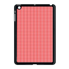 Small Snow White And Christmas Red Gingham Check Plaid Apple Ipad Mini Case (black) by PodArtist
