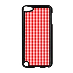 Small Snow White And Christmas Red Gingham Check Plaid Apple Ipod Touch 5 Case (black) by PodArtist