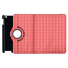 Small Snow White And Christmas Red Gingham Check Plaid Apple Ipad 2 Flip 360 Case by PodArtist